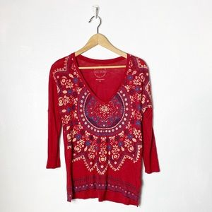 Lucky Brand red v-neck top